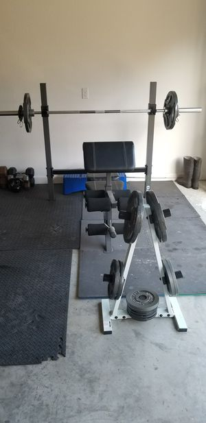 Fitness Gear Olympic Weight Bench and 300lbs iron weights and tree for Sale in Hensley, AR