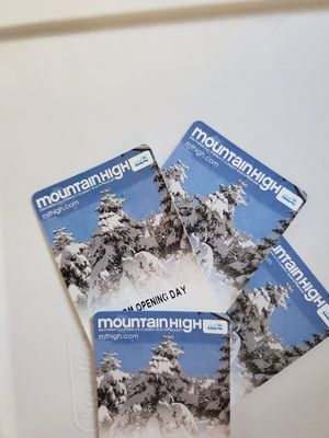 Mountain High tickets good for opening day use only for Sale in Alhambra, CA