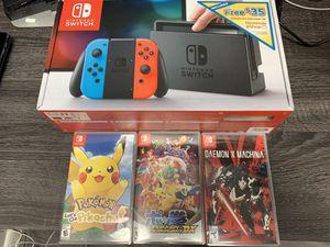 Original Nintendo Switch, Pokemon let's go Pikachu, Pokken tournament DX, Daemon X Machina for Sale in Dunedin, FL