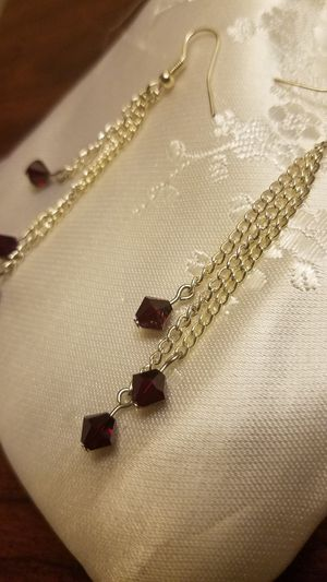 Handmade ruby red diamond beaded dangly chain earrings for Sale in Cleveland, OH