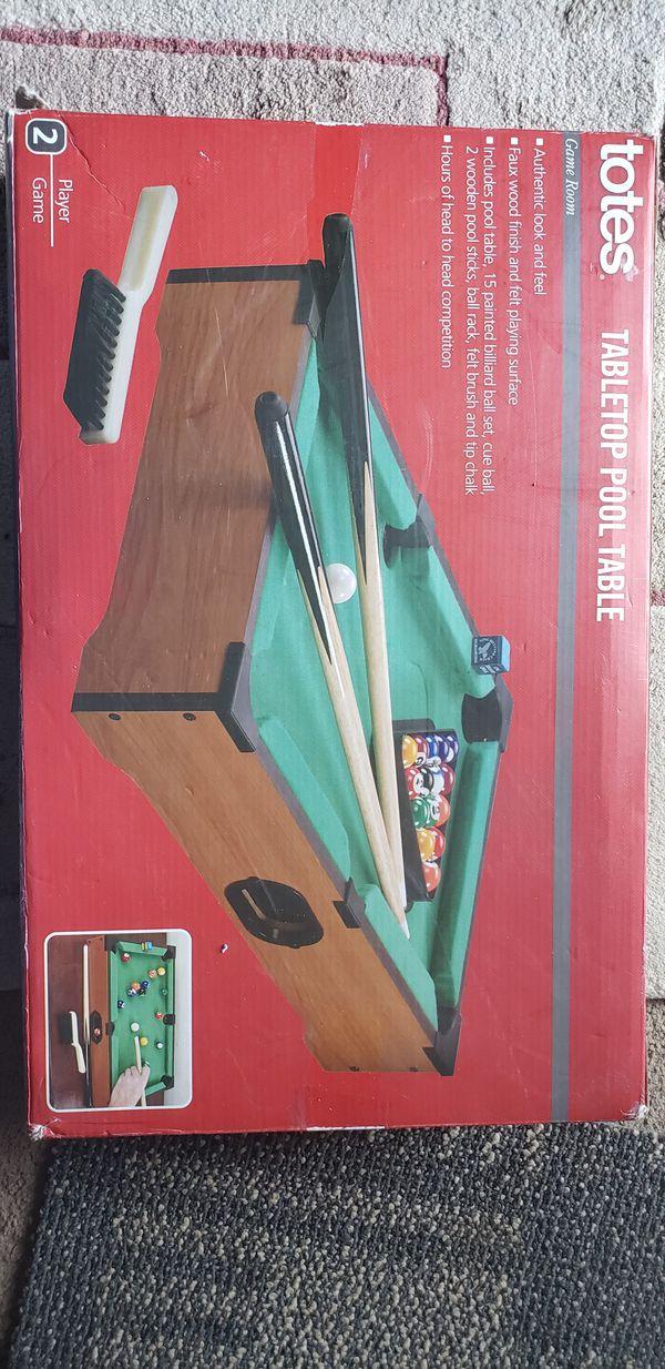 Totes Tabletop Pool Table Portable 2 Player Fun