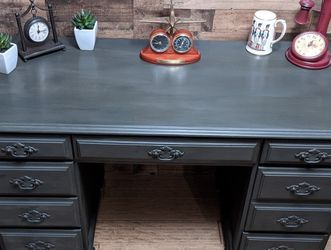 Beautifully Restored Antique Desk Or Vanity Charcoal Gray for Sale in Beaverton,  OR