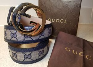 Gucci Monogram Blue Leather Belt Authentic for Sale in Queens, NY
