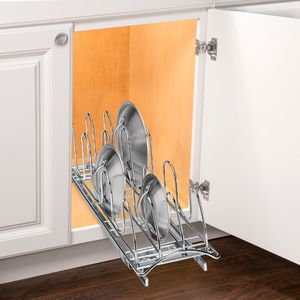 Lynk Professional Roll Out Pan Lid Holder - Pull Out Kitchen Cabinet Organizer Rack - Chrome for Sale in Tigard, OR