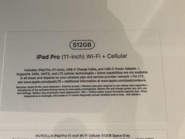 IPAD PRO 11inch 512GB - wifi + cellular SEALED