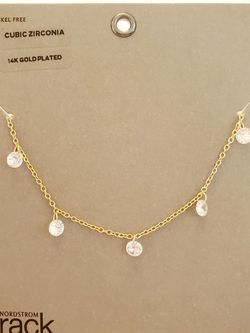 Beautiful CZ Dangle 14k gold plated Necklace for Sale in Rockville,  MD
