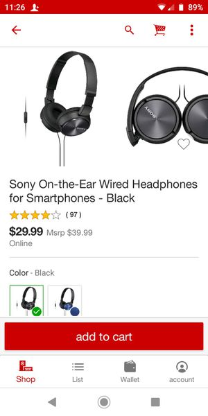 Sony on the ear wired headphones for smartphone for Sale in Houston, TX