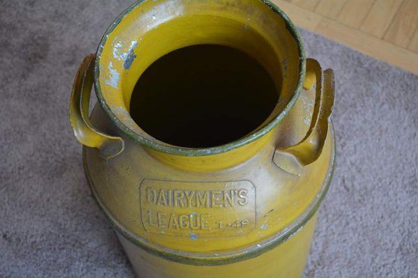 Antique dairymen's league painted milk can