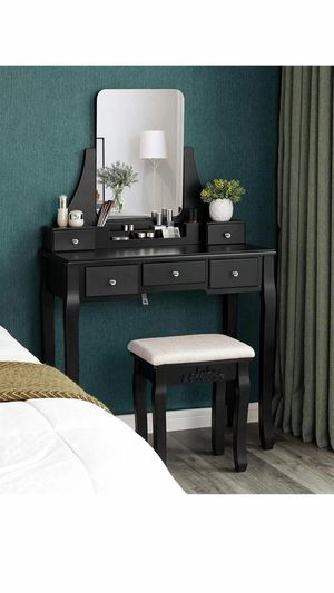 Vanity Table Set with Large Frameless Mirror, Makeup Dressing Table Set for Bedroom, Bathroom, 5 Drawers and 1 Removable Storage Box, Cushioned Stool for Sale in Chino, CA