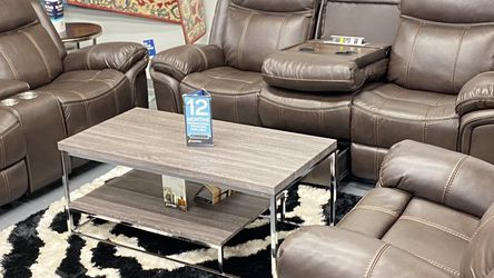 Brand New Brown Leather Manual Reclining Sofa Set With USB plugs. $39 Down No Credit Needed Financing . We Do Same Day Delivery for Sale in Dallas,  TX