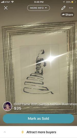 Gold frame and custom fashion illustration for Sale in St. Louis, MO