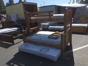 BunkBed Bookcase Solided Pine Wood Twin/Full/w pull out Twin for Sale in Garden Grove, CA
