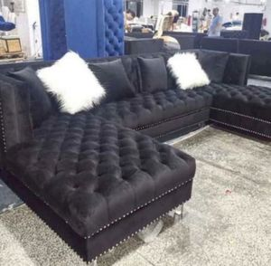 🥰⚘Marly Black Velvet Sofa & Loveseat Down payment $39 No Credit Check for Sale in Houston, TX