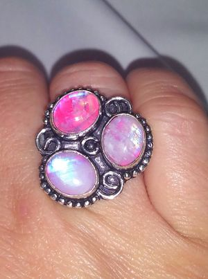 Natural pink rainbow moonstone triple oval stones & .925 stamped sterling silver ring size 7 NEW! for Sale in Carrollton, TX