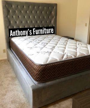 Queen grey velvet bed frame & bamboo set for Sale in Huntington Park, CA