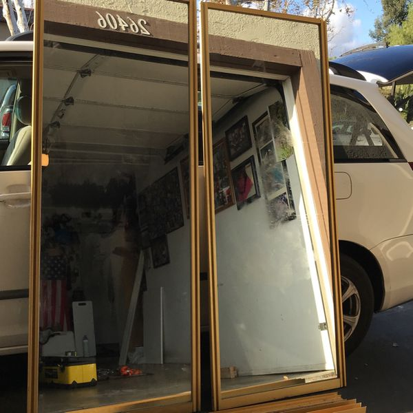 Vintage Mirrored Closet Doors. Gold, Rails Included