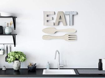 EAT Sign + Fork and Spoon Wall Decor for Kitchen   Rustic Farmhouse Decoration   Large Wooden Letter for Sale in Anaheim,  CA
