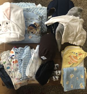 Baby boy lot w/new Moby Wrap, new carrier for Sale in Colorado Springs, CO