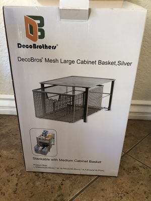 3 Mesh large cabinet baskets. Deco Brothers silver for Sale in Henderson, NV