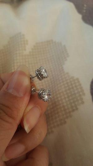 925 sterling silver zircon diamond crown small stud earrings for Sale in Perris, CA