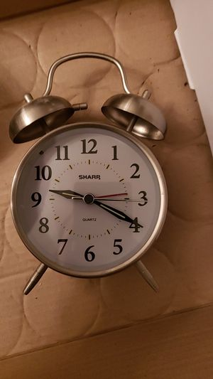 Silver tone Shart retro style table clock alarm for Sale in Brook Park, OH