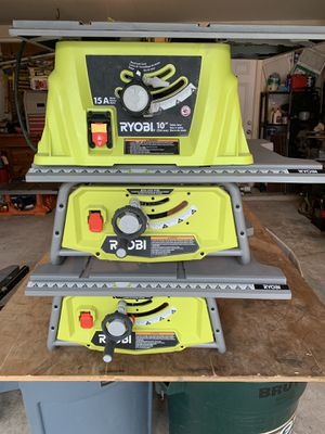 "(3) Ryobi 10"" table saws - (dewalt) Come as pictured - sold together only $150 - 2 need switch - 1 runs great for Sale in Spring, TX"
