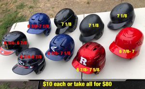 Baseball helmets easton Rawlings mizuno equipment gloves bats demarini Nike $10 each Dont have any one ear flap helmets for Sale in Culver City, CA