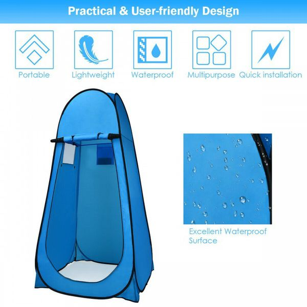 Portable Camping Changing Tent Blue Outdoor Use