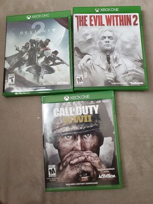 XBOX ONE DESTINY 2 EVIL WITHIN 2 CALL OF DUTY WW II USED COMPLETE VIDEO GAME WORKS PERFECTLY for Sale in Chatsworth, CA