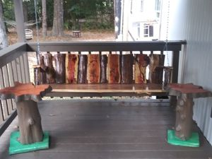 Cedar porch swing and 2 solid wood tables for Sale in Porter, TX
