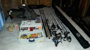 Fishing poles, reels, case, net, gear and tackle. for Sale in Rio Rancho, NM