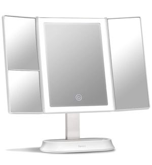 Trifold Makeup Mirror with Natural LED Lights, Lighted Vanity Mirror with 5x & 7x Magnifications - 58 Dimmable Lights, Touch Screen for Sale in Houston, TX