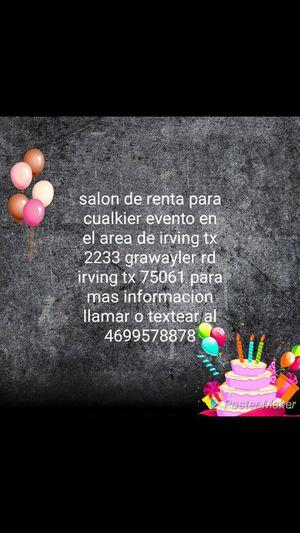 Renta de Salón para cualquier evento 2233 east grauwyler rd # 123 irving tx 75061 for Sale in Irving, TX