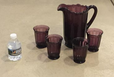 Fenton Like Heavy Pitcher and 4 Glasses for Sale in JACKSON BELDEN,  OH