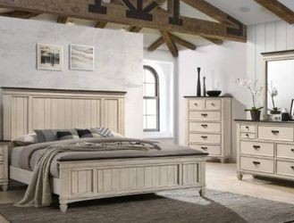 Sawyer Antique White/Brown Panel Bedroom Set by Crown Mark for Sale in Arlington,  VA