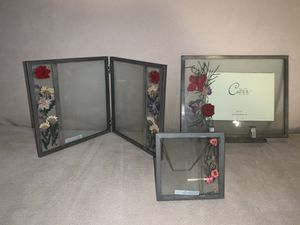 Carr Picture Frames (3) with real pressed flowers for Sale in Bellevue, WA