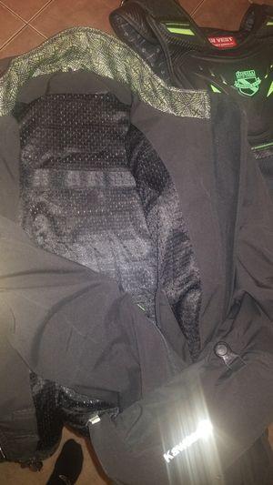 Wind/waterproof Kawasaki padded motorcycle jacket for Sale in Grand Prairie, TX