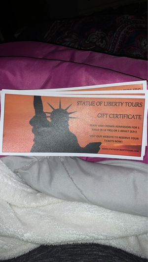 4 Tickets/ Statue of Liberty crown and ferry for Sale in North Haven, CT