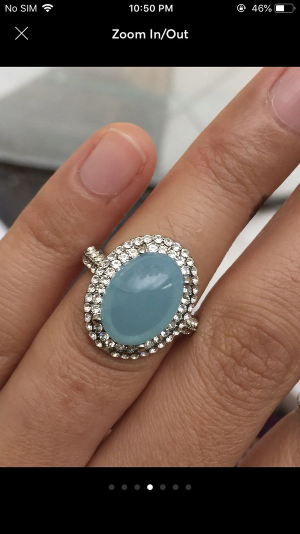 White gold filled moonstone ring women's jewelry accessory