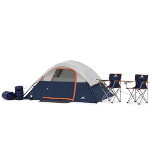 Title: Ozark Trail 6 Piece Camping Combo Description: Includes: 4-person instant tent, two foldable chairs, two sleeping bags and a collapsible LED La for Sale in Houston, TX