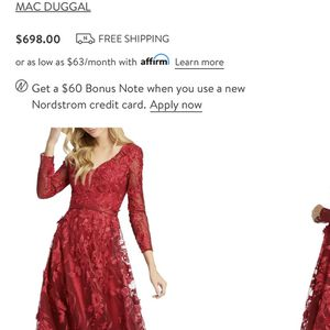 Beautiful Mac Duggal Long Sleeve Red Prom Dress Gown Size 20 for Sale in Lombard, IL