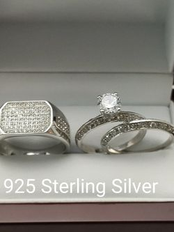 New with tag Solid 925 Sterling Silver HIS & HER WEDDING Ring trio Set size 8/9/10 and 6/8/9 $250 set OR BEST OFFER ** FREE DELIVERY!!! 📦🚚 ** for Sale in Phoenix,  AZ