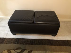 Brown Leather Double Storage Ottoman for Sale in Margate, FL