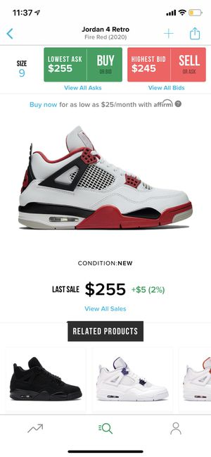 jordan retro 4 fire red 2020 HIT THE SHOCK DROP for Sale in Miami, FL