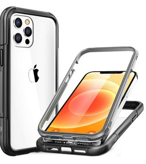 Mkeke Case Compatible with iPhone 12 Case, Compatible with iPhone 12 Pro Case 6.1 Inch Dual-Layer with Shockproof Bumper, Grey/Clear(new) for Sale in Rosemead, CA