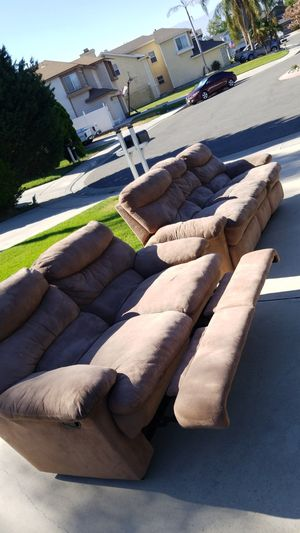 Microfiber sofa and love seat need to go today has 3 fully working recliners for Sale in Ontario, CA
