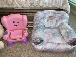 (Talking)Fisher Price Smart stages chair, Unicorn plush chair, Huge stuffed animals for Sale in Houston, TX