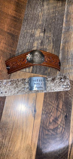 Western cuff cowhide tooled leather bracelet bracelets for Sale in Gardendale, TX