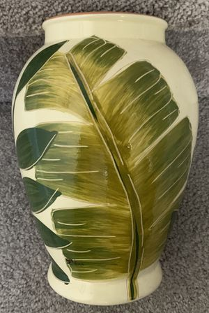 "Molde Ceramic Pottery Vase With Large Banana Leaves Design Made In Portugal 9"" Tall for Sale in Chapel Hill, NC"