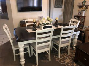Dining table dinner table kitchen table 6 six chairs solid wood cream off white distressed farmhouse for Sale in Glendale, AZ